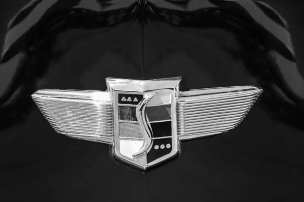 Photograph - 1948 Studebaker Logo -0588bw by Jill Reger