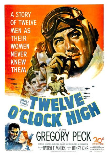 1949 - Twelve O Clock High Movie Poster - Gregory Peck - Dean Jagger - 20th Century Pictures - Color Art Print