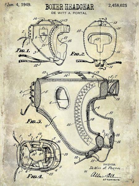 Boxing Photograph - 1949 Boxer Headgear Patent Drawing  by Jon Neidert