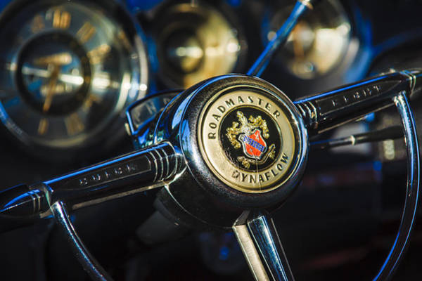 Riviera Photograph - 1949 Buick Roadmaster Riviera Coupe Steering Wheel Emblem by Jill Reger