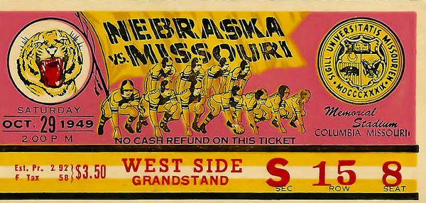 Photograph - 1949 Football Ticket - Nebraska Vs Missouri by David Patterson