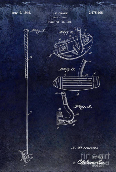 Golf Green Photograph - 1949 Golf Putter Patent Drawing Blue by Jon Neidert