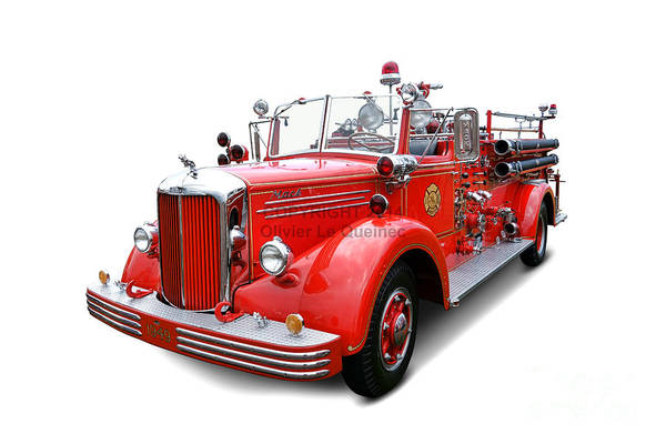Fire Truck Photograph - 1949 Mack Fire Truck by Olivier Le Queinec