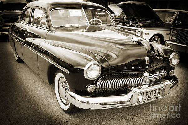 Photograph - 1949 Mercury Classic Car Front And Side In Sepia 3190.01 by M K Miller