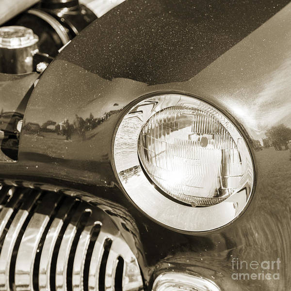 Photograph - 1949 Mercury Coupe Head Light Sepia Color 3039.01 by M K Miller