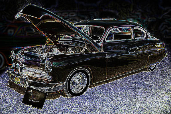 Photograph - 1949 Mercury Coupe In Color Dark Drawing 3036.04 by M K Miller