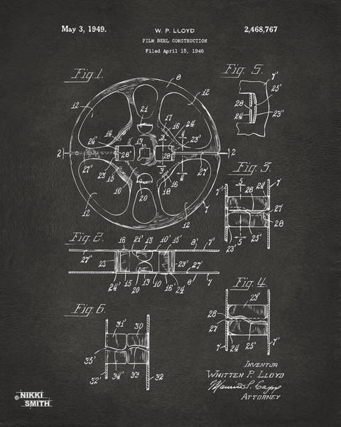 Cross Section Digital Art - 1949 Movie Film Reel Patent Artwork - Gray by Nikki Marie Smith