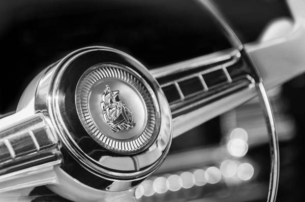 Plymouth Photograph - 1949 Plymouth P-18 Special Deluxe Convertible Steering Wheel Emblem by Jill Reger