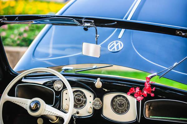 Photograph - 1949 Volkswagen Vw Hebmuller Cabriolet Steering Wheel -1207c by Jill Reger