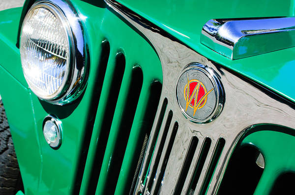 Photograph - 1949 Willys Jeep Station Wagon Grille Emblem by Jill Reger