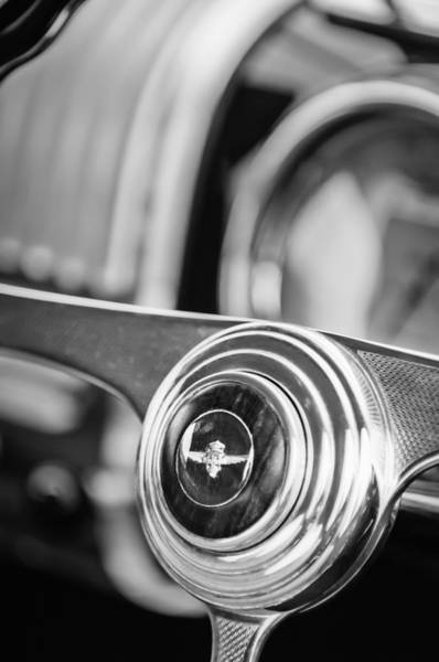 Photograph - 1950 Alfa Romeo 6c 2500 Ss Touring Coupe Steering Wheel Emblem -1642bw by Jill Reger