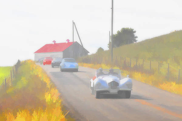 Photograph - 1950 Allard K2 Roadster And Porsche 356's by Jack R Perry