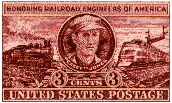Vintage Railroad Painting - 1950 Casey Jones Stamp by Historic Image