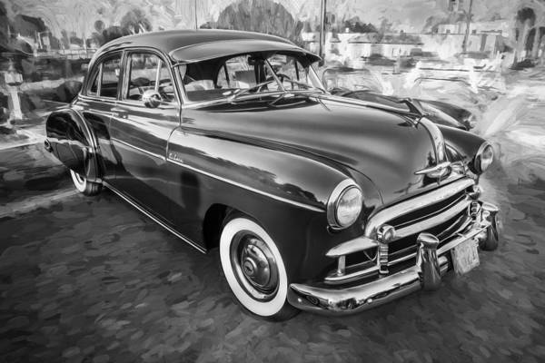 Dual Exhaust Photograph - 1950 Chevrolet Sedan Deluxe Painted Bw   by Rich Franco