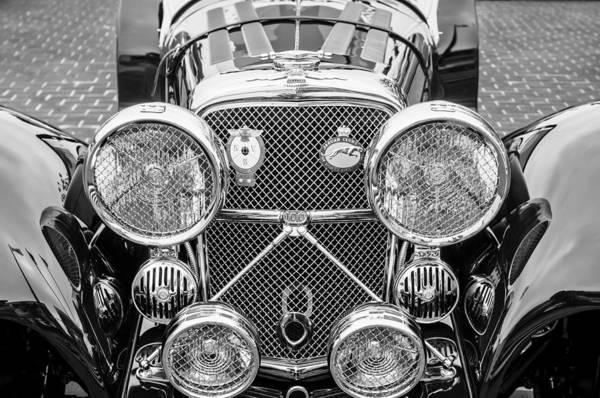 Roadsters Photograph - 1950 Jaguar Xk120 Roadster Grille -0260bw by Jill Reger