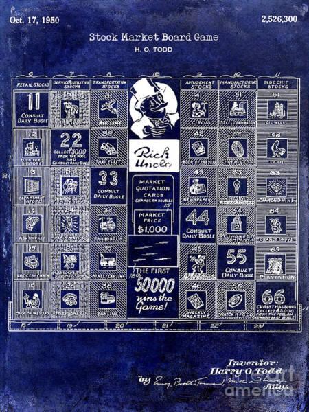 Monopoly Photograph - 1950 Stock Market Game Patent Drawing Blue by Jon Neidert