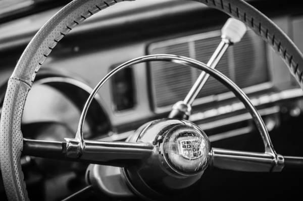 Photograph - 1950 Studebaker Champion Steering Wheel -1326bw by Jill Reger
