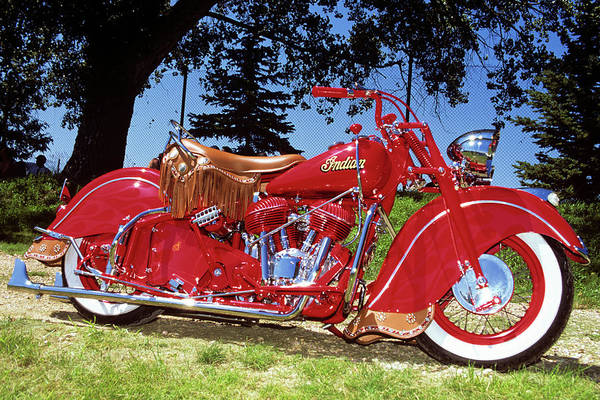 Brighter Side Photograph - 1950s 1953 Bright Red Indian Motorcycle by Vintage Images