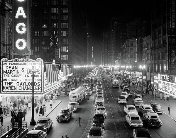 Wall Art - Photograph - 1950s 1953 Night Scene Of Chicago State by Vintage Images