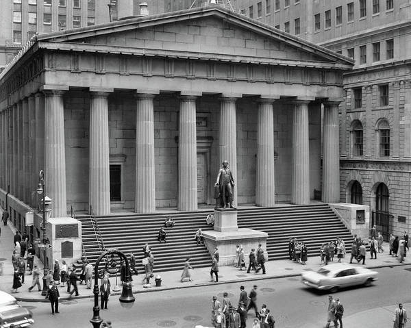 Greek Revival Architecture Photograph - 1950s 1958 Wall Street Federal Hall by Vintage Images