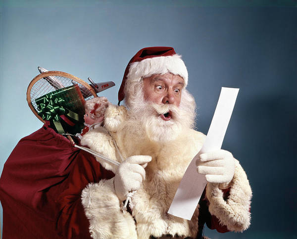 Jolly Holiday Photograph - 1950s 1960s 1970s Surprised Santa Claus by Vintage Images