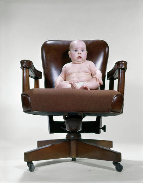 Yesterday Photograph - 1950s 1960s Baby Sitting Office Chair by Vintage Images