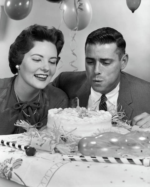 Wedding Cake Photograph - 1950s 1960s Couple With Birthday by Vintage Images
