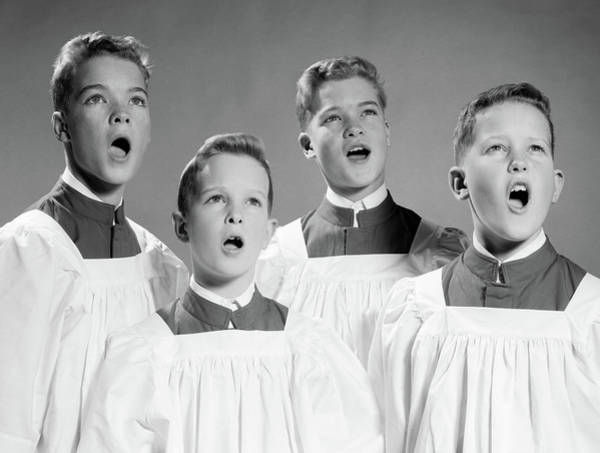 Vocalist Photograph - 1950s 1960s Four Choir Boys Singing by Vintage Images