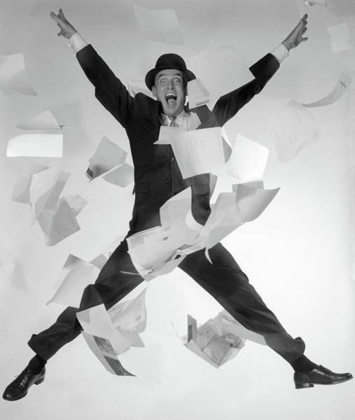 Hats For Sale Photograph - 1950s 1960s Happy Man Salesman by Vintage Images