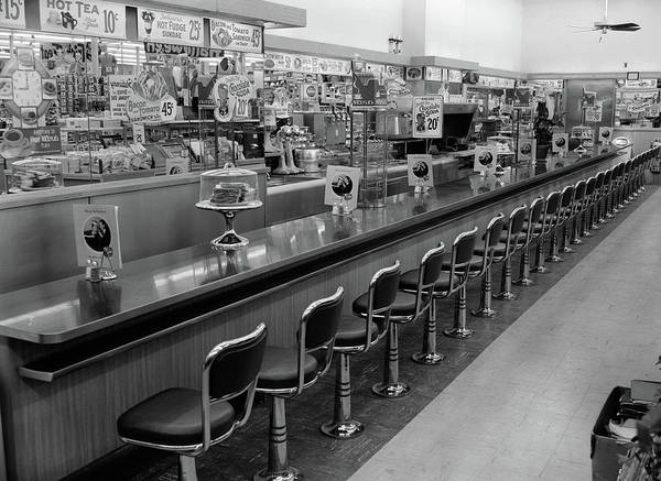 Sundae Wall Art - Photograph - 1950s 1960s Interior Of Lunch Counter by Vintage Images