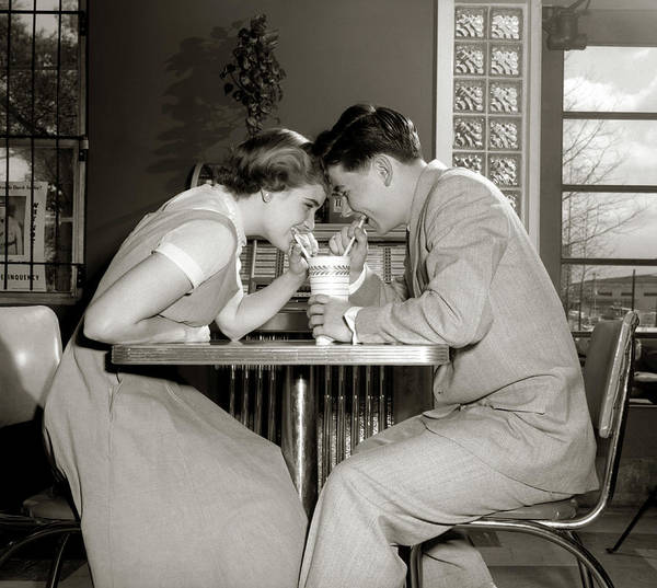 Soda Straws Photograph - 1950s 1960s Laughing Teenage Couple Boy by Vintage Images