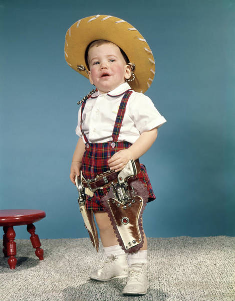 Space Gun Photograph - 1950s 1960s Little Boy Wearing Cowboy by Vintage Images
