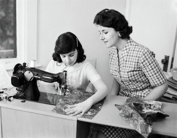 Making Love Photograph - 1950s 1960s Mother Teaching Daughter by Vintage Images