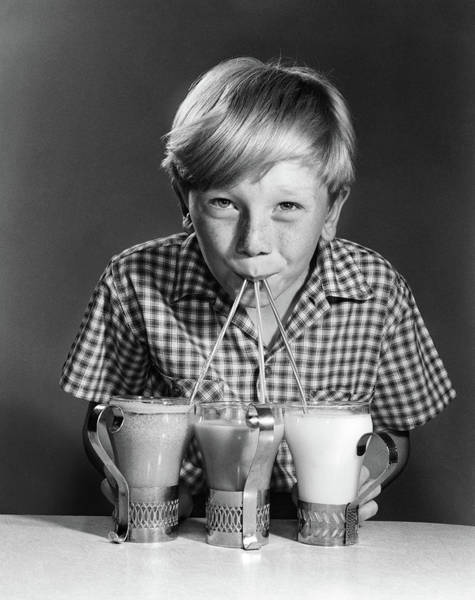 Soda Straws Photograph - 1950s 1960s Portrait Of Blonde Boy by Vintage Images