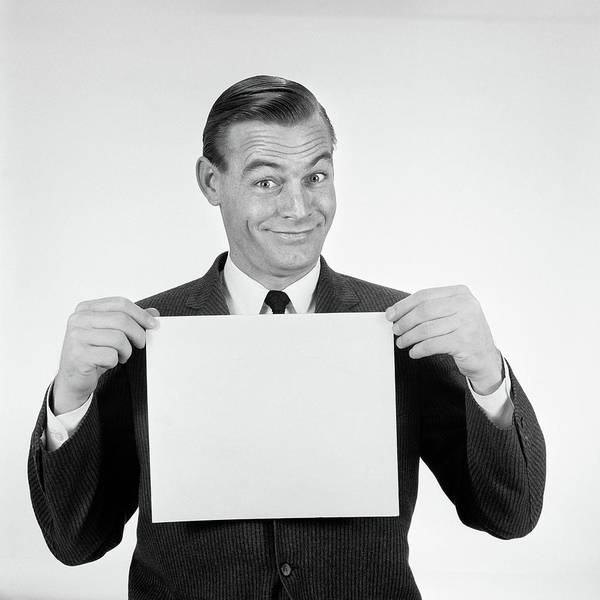 Placard Photograph - 1950s 1960s Smiling Man Funny Facial by Vintage Images