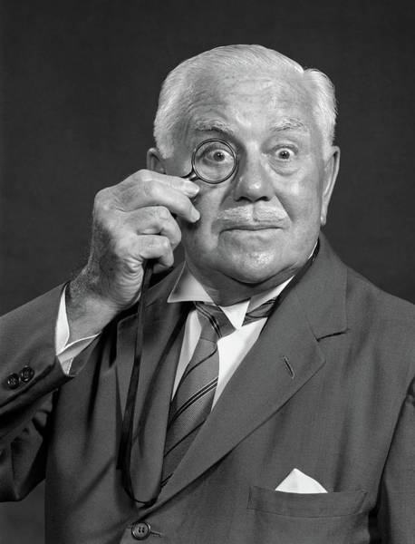 Bug Man Photograph - 1950s 1960s Surprised Senior by Vintage Images