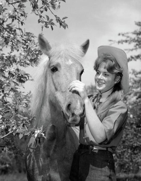 Girl And Horse Photograph - 1950s 1960s Teenage Girl In Cowboy Hat by Animal Images