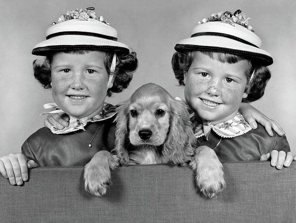 Similar Photograph - 1950s 1960s Twin Girls Wearing White by Vintage Images
