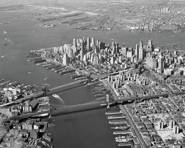 Edifice Photograph - 1950s Aerial Of Downtown Manhattan East by Vintage Images