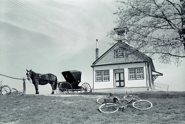 Amish Country Photograph - 1950s Amish One-room Schoolhouse At Top by Vintage Images