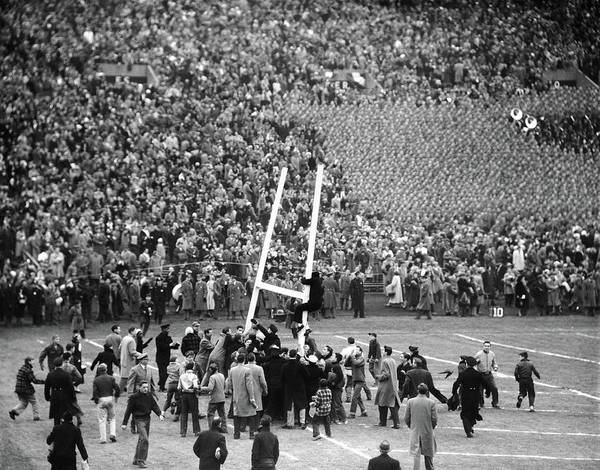 Frenzy Wall Art - Photograph - 1950s Army Navy Game Excited Spectators by Vintage Images
