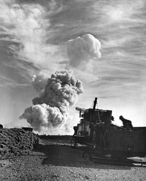1953 Photograph - 1950's Atomic Cannon Test by Underwood Archives
