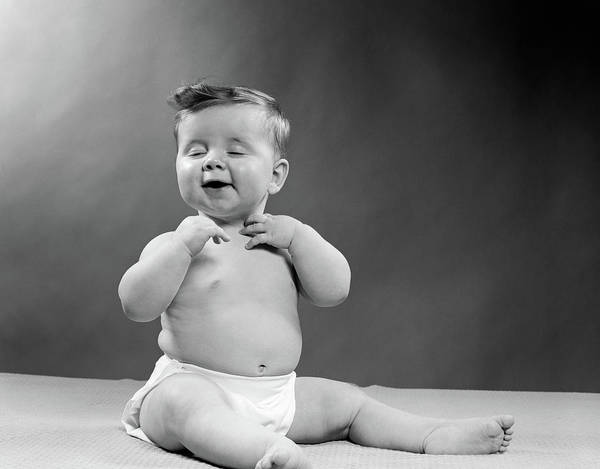 Self Confidence Photograph - 1950s Baby Wearing Diaper Seated by Vintage Images
