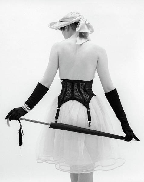 Garter Photograph - 1950s Back Of Topless Woman Wearing Hat by Vintage Images