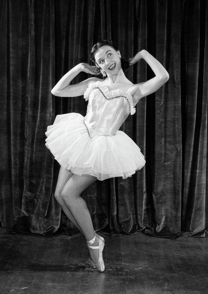 Talent Photograph - 1950s Ballerina On Toes by Vintage Images