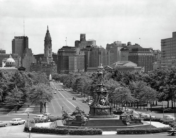 City Scape Photograph - 1950s Benjamin Franklin Parkway Looking by Vintage Images