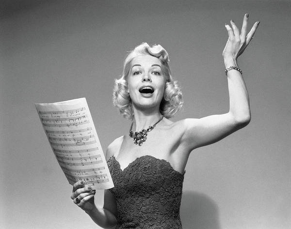 Vocalist Photograph - 1950s Blond Woman Vocalist Wearing by Vintage Images