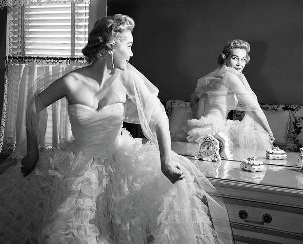 Self Confidence Photograph - 1950s Blonde In Strapless Gown by Vintage Images