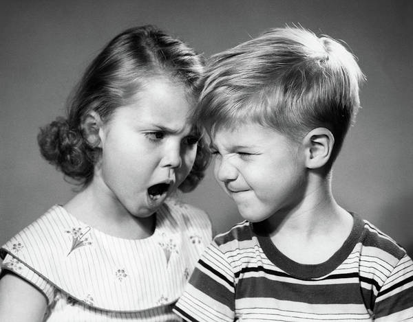 Gesturing Photograph - 1950s Boy And Girl Arguing Head To Head by Vintage Images
