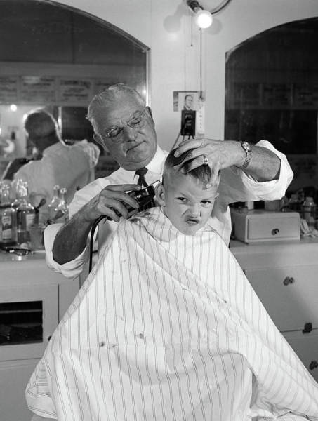 Unhappy Photograph - 1950s Boy In Barbershop Getting by Vintage Images